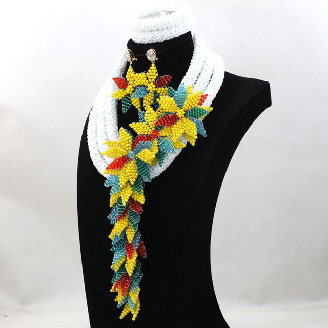 White Arabic Women Party Anniversary Gift Jewelry Set Yellow/Teal Blue Lace Fabric Beads Jewelry Free Shipping WD275