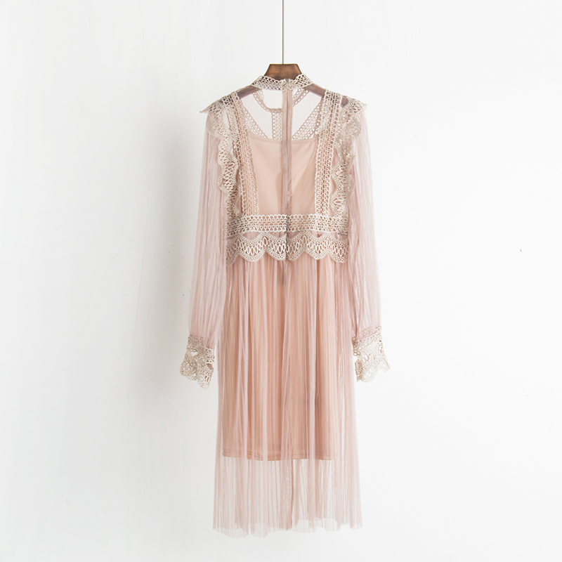 2017 Autumn new female ruffles sweet gauze lace pressure pleated one-piece dress women's waist slim full dress twinset 4