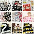 Ins sytle Baby Blanket Black White CuteKnitted Plaid For Bed Sofa Cobertores Mantas BedSpread Bath Towels Play Mat Gift