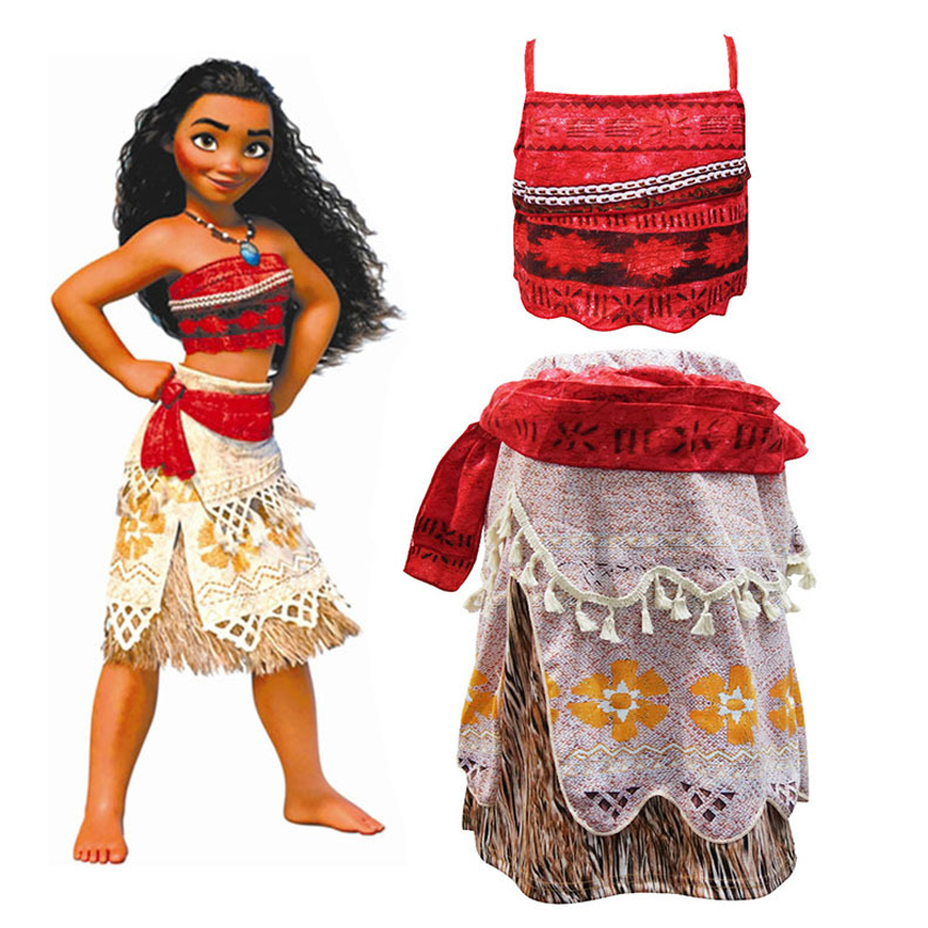 Adventure Outfit Cosplay Costume Toddler Kids Part Skirt Set Princess Girls Moana Costume For Kids Clothes Little Girls Dress the little mermaid ariel princess dress cosplay adult ariel mermaid costume women mermaid princess ariel green dress cosplay