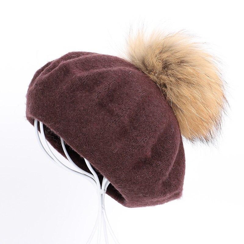 Берет художника, уличные шапки художника, осень и зима, новые теплые вязаные однотонные кепки, модный мех енота, помпон, берет в стиле винтаж - Цвет: Coffee