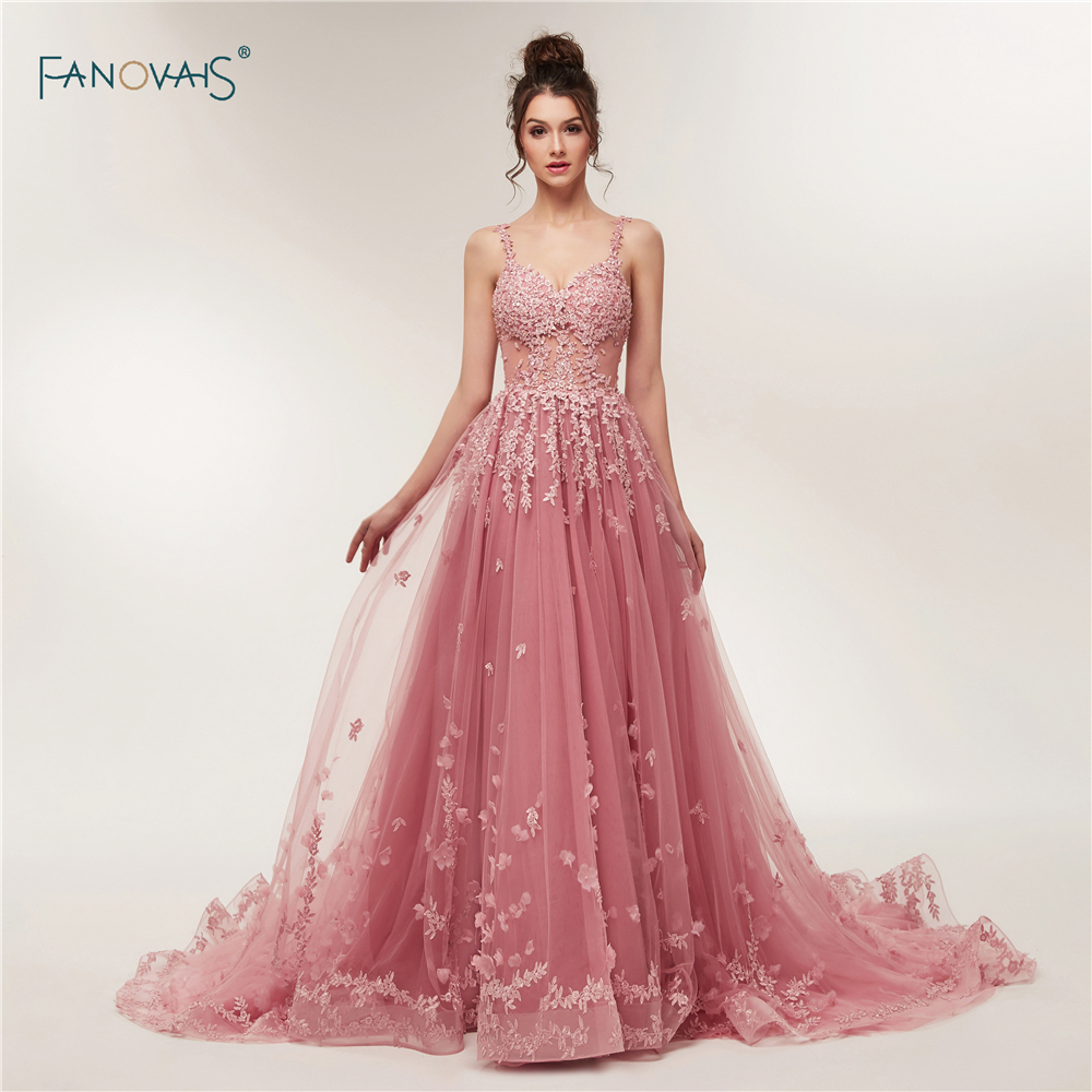 Vintage Evening Dresses Long 2018 Sweetheart Tulle Applique Flower ...