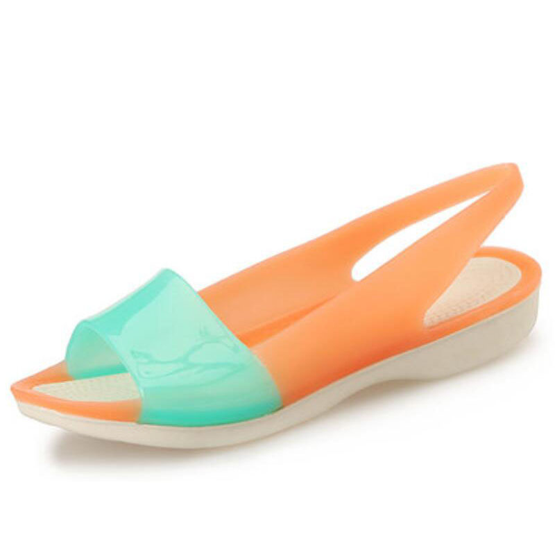 2017 summer leisure LuoGe color cloth shoes with flat shoes wedges jelly fish mouth color color sandals