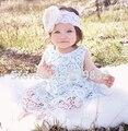 Новые Детские Аква Кружева Комплект Одежды Мяты Синий Swing Top Промах Набор Ребенка День Рождения Наряд Детская Одежда