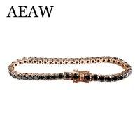 Мода Стиль Solid 14 К 585 розовое золото 18 карат ct 5 мм Black Diamond Moissanite браслет для Для женщин Тесты положительный