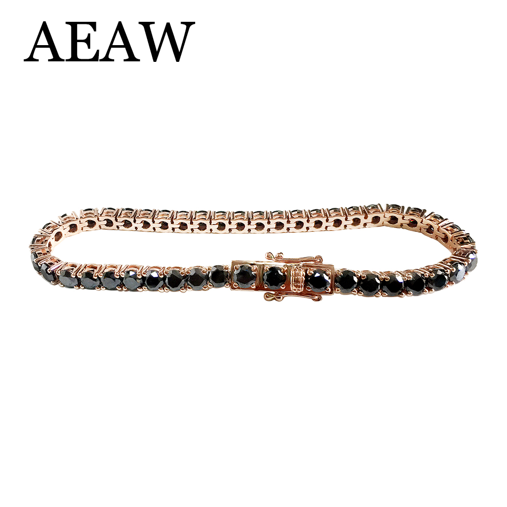Trendy Style Solid 14K 585 Rose Gold 18 Carats ct 5mm Black Moissanite Diamond Bracelet For Women Test Positive