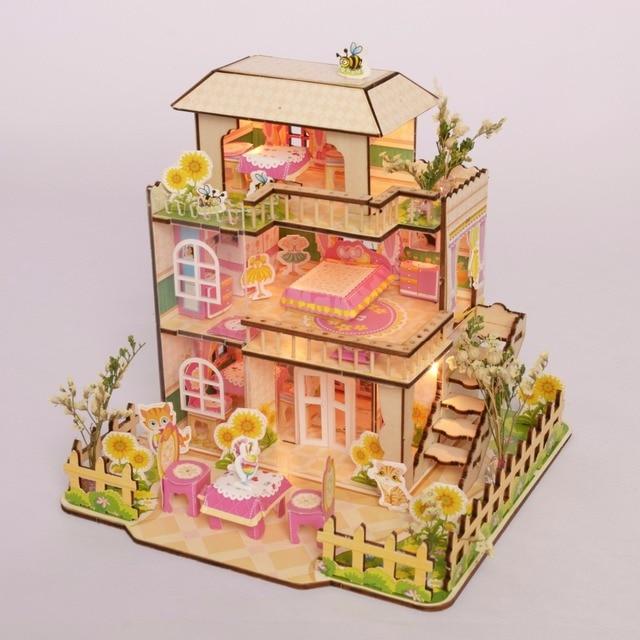 Кукольный Дом Модель DIY 3D Головоломка Для Девушки Деревянные Игрушки Лазерный Доска Хижина Glueless Без Применения Милый Розовый Прекрасный Собрать Подарок