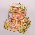 Doll House Model DIY 3D Puzzle For Girls Wooden Toy Laser Board Hut Glueless Toolless Cute Pink Lovely Assemble Gift