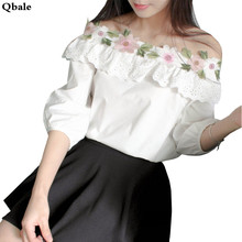 Korean Fashion Cute tee shirt Women White t shirt Lantern Sleeve Embroidered Lace Flower Ruffle Off the shoulder tops for women