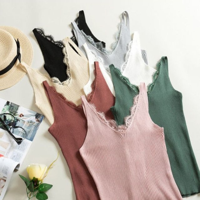 7 Colors Spring Knitted Tank Tops New Hook Flower Lace Solid Stitching V-neck Camis Female Slim Outer Wear Shirt Trend 2018 Hot