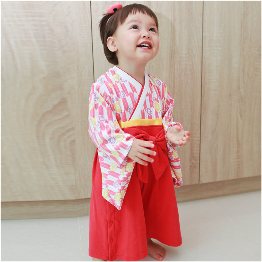Japanese Style Baby Kimono Clothes Newborn Baby Rompers National Tradition Rompers Cherry