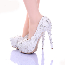 Sewing White Lace Stiletto Heel Rhinestone Platform Wedding Shoes 14cm High Heel Rhinestone Bridal Dress Shoes New Arrival