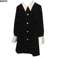 KENVY Brand Fashion Women's High end Luxury Autumn Elegant Diamond Velvet Long sleeved Dress