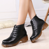 2017 New Winter Casual Women Boots Fashion Lace Up Mid Heel Square Heel Boots Retro Motorcycle