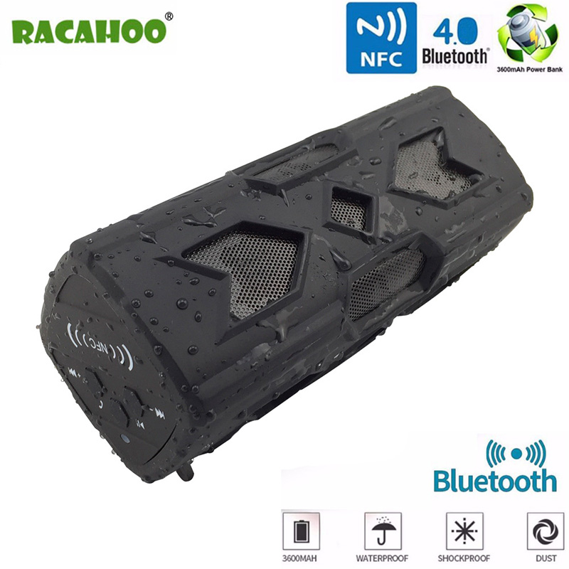 RACAHOO New Portable Ourdoor Bluetooth Speaker Waterproof Wireless Loundspeaker Soundbar Built in Power Bank Support NFC