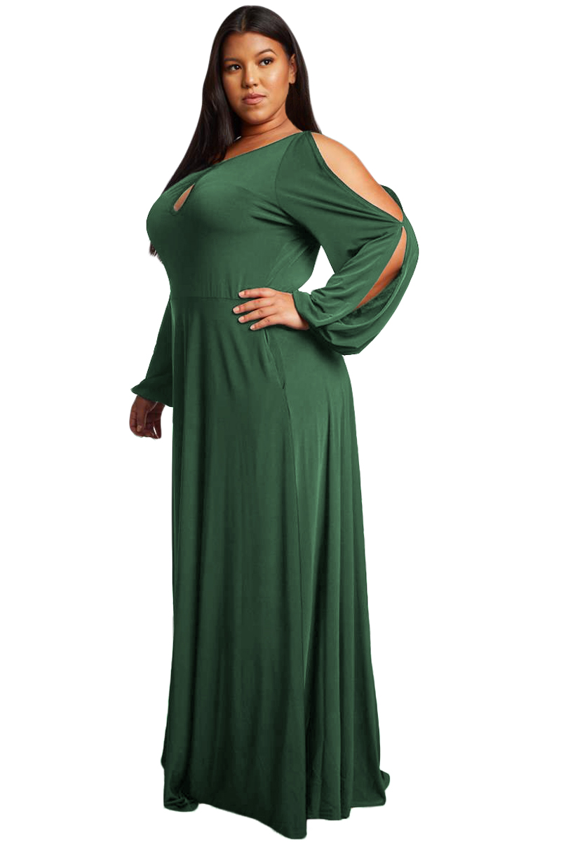 Army-Green-Split-Long-Sleeve-Plus-Size-Maxi-Dress-LC610516-9-3
