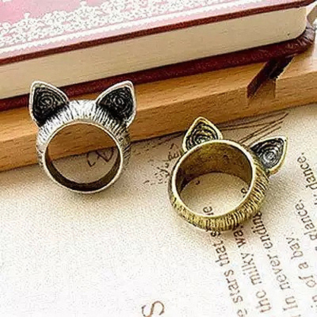 R017  Unique Cute Retro Orecchiette Rings Cat Ears Rings For Women 2 Colors HOT Selling