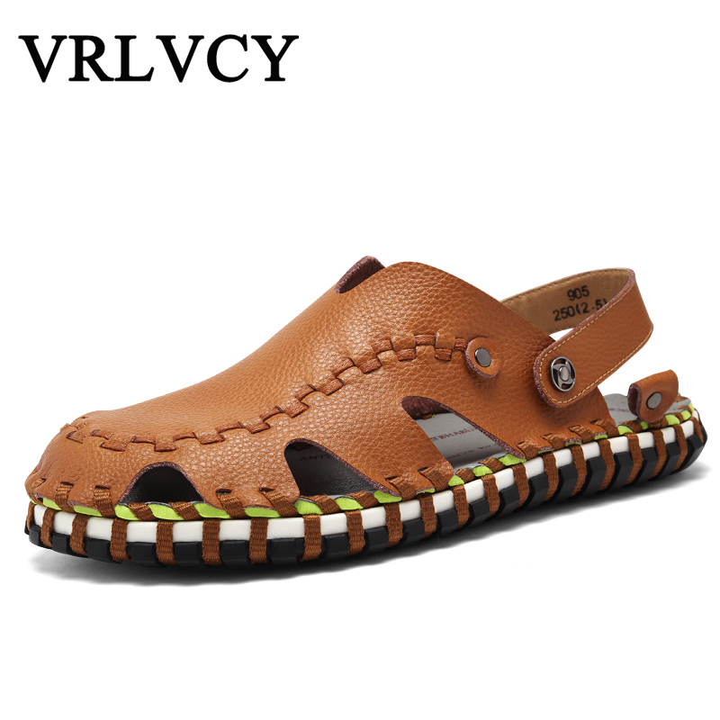 New Fashion Summer Beach Breathable Men Sandals Genuine Leather MenS Sandal Man Causal Shoes