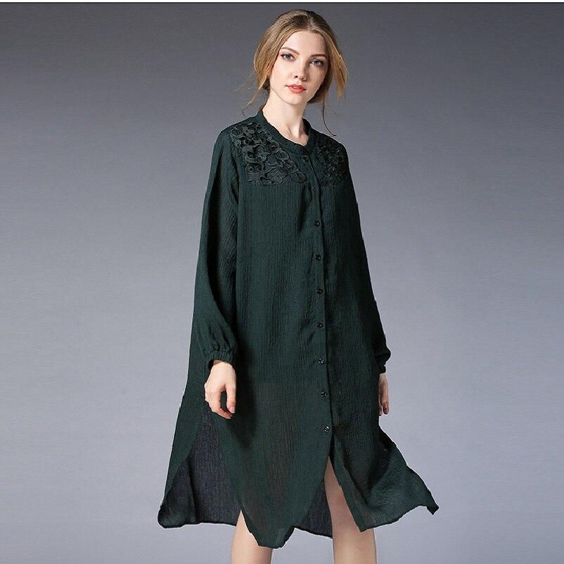 New2018Spring mode dames lâche longue chemise col montant femme chemise robe grande taille dentelle patchwork décontracté robes XL-XXXXL