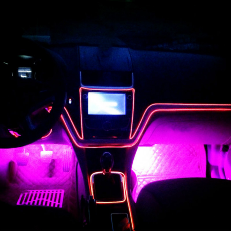 JURUS 1Meter 10 Colors Auto Decoration Car Interior Lights EL Wire Rope Neon Light Tube Line With USB 5V Inverter Car styling in Decorative Lamp from Automobiles Motorcycles
