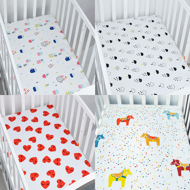 100% Cotton Baby Fitted Sheet Cartoon Crib Mattress Protector Baby Bed Sheet  For Crib Size