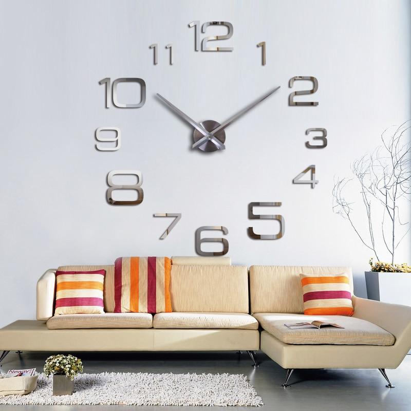 Fashion Large Wall Clock Modern Design Acrylic Mirror Europe Diy 3d Stickers Decorative Quartz Watch Living Room