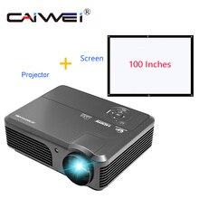 """4200lm LED HD проектор для домашнего Театр фильм Плёнки ТВ 1080 P мультимедиа с 100 """"большой Экран комплект"""