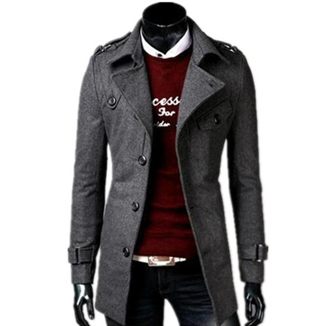2018 autumn/winter fashion new men leisure single-breasted trench coat / Men's turn down collar long woolen jacket 2