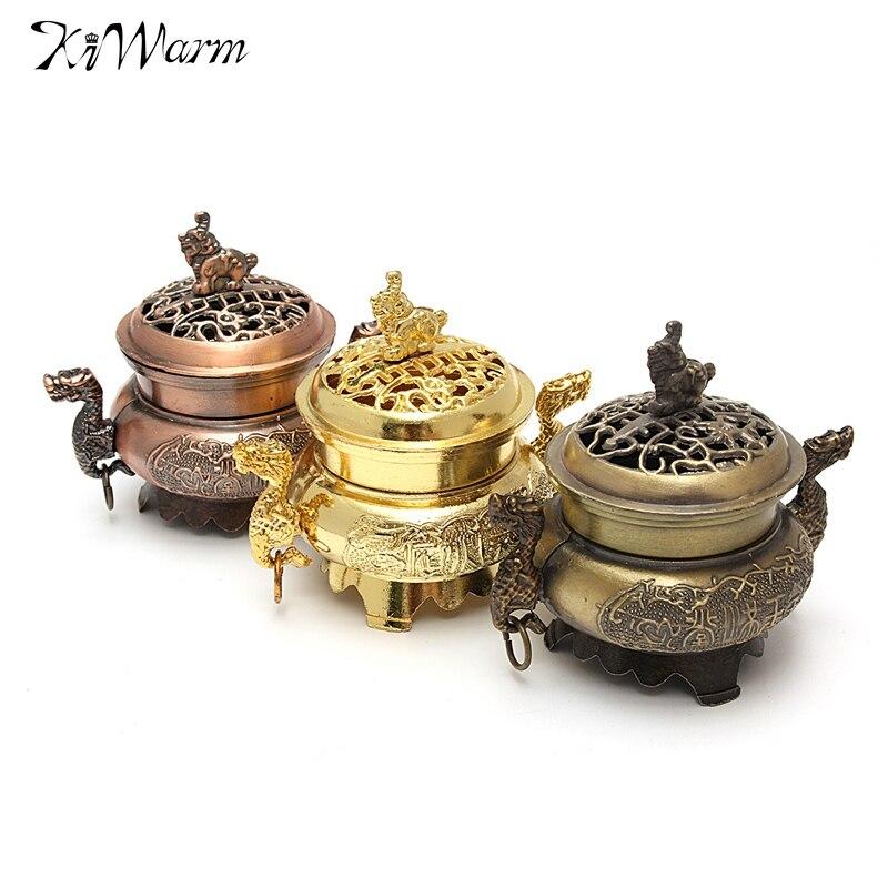 Kiwarm Retro Tibetan Style Mini Alloy Bronze Incense Burner Censer Metal Craft Home Decor