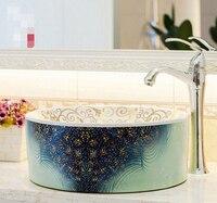 Bathroom washbasin counter basin vanities modern printing personalized ceramic basin 676