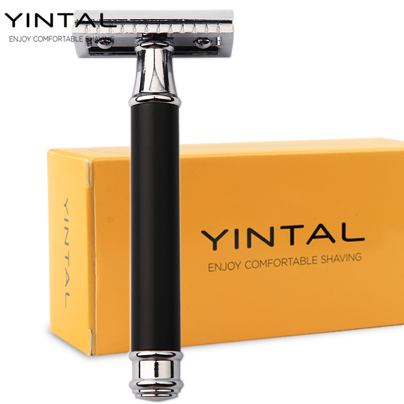 YINTAL 1 Razor Brass Plating Men's Double-sided Manual Razor Replaceable Bronze Style Brass Handle Shaving Hair Removal