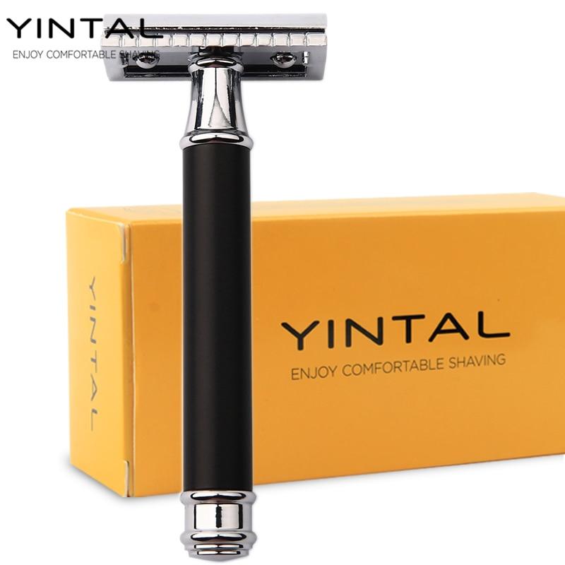 YINTAL 1 бръснач месингови мъжки двустранен ръчен бръснач сменяем бронзов стил месинг дръжка бръснене просто опаковане