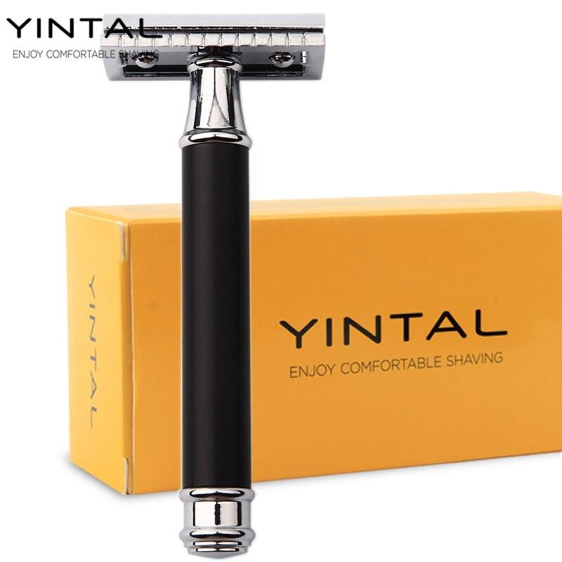 YINTAL 1 britva brass mesing oplemenjeni muški dvostrani ručni britva zamjenjiva brončana stil mesing ručka brijanje jednostavno pakiranje  t