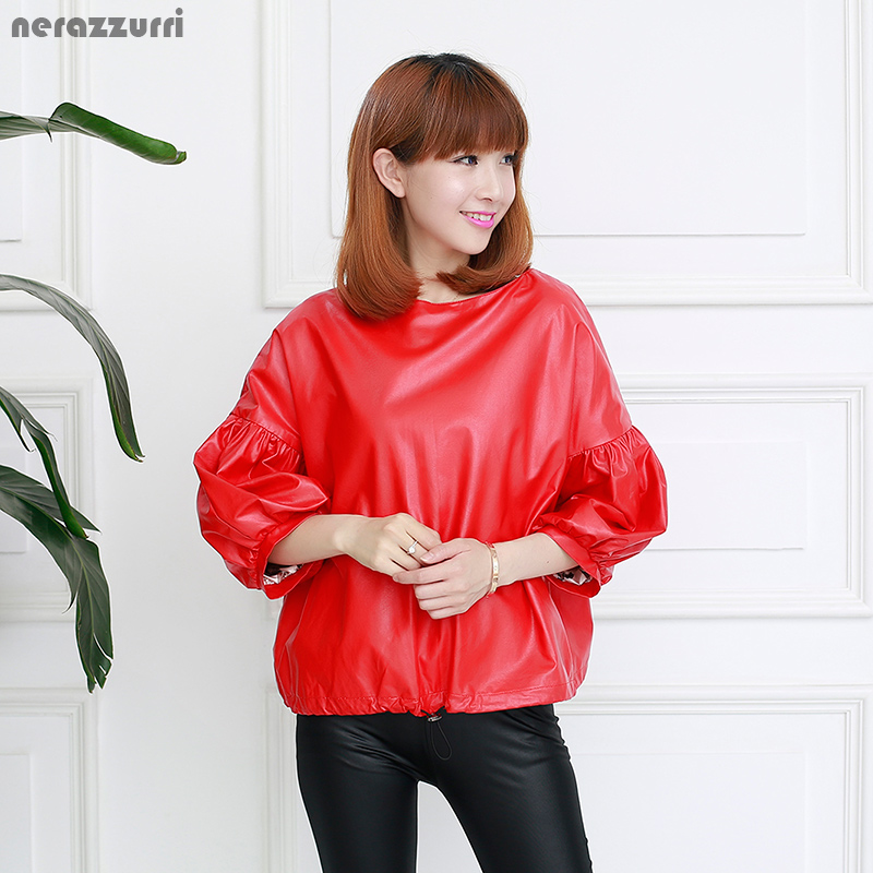 Nerazzurri Women Faux   Leather   Jacket Flare Sleeve Red Black Gray Blue Soft Short Washed Pu jacket Pullover Coat 2019 New Fashion
