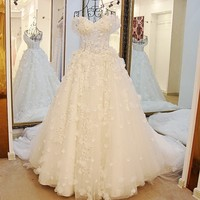 New Arrival Vestido De Noiva 2016 A Line V Neck Wedding Dresses Tulle Lace Flowers Cheap
