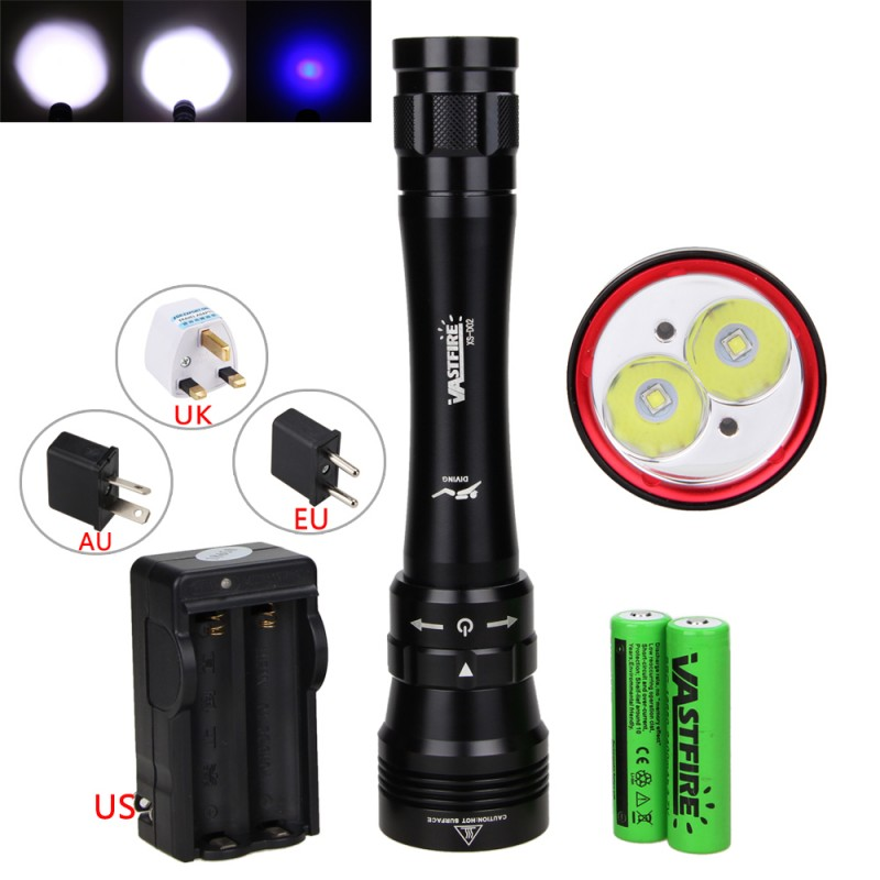 10000Lm 2XML L2 LED+2x Blue LED Diving Lamp Underwater Flashlight Torch 50M Waterproof With 2x 18650 Battery Pack 18650 Charger yupard diving diver 50m waterproof underwater flashlight xm l2 t6 led torch white yellow light lamp torch 18650 battery charger