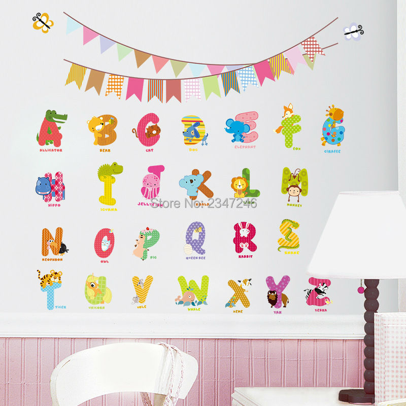Animal Letters Wall Decals Cartoon Alphabet Removable Home Decor Kids Room  ABC Wall Art Stickers For Kids Room In Wall Stickers From Home U0026 Garden On  ...