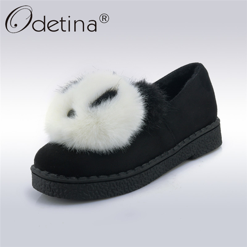 Odetina 2017 New Fashion Spring Comfort Fur Loafers Women Shoes Lovely Warm Ladies Flat Shoe Slip on Round Toe Big Size 31-45 new round toe slip on women loafers fashion bow patent leather women flat shoes ladies casual flats big size 34 43 women oxfords