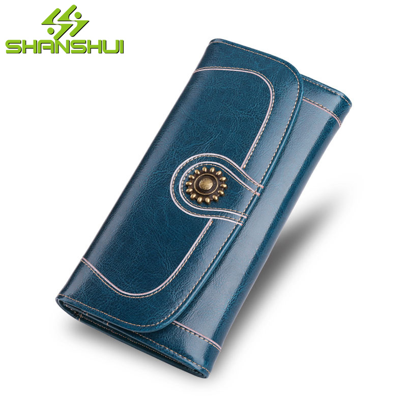 Vintage Genuine Leather Large Capacity Travel Long Wallet Women Billfold Card Wallets Purse Multi Card Organizer Cellphone Case