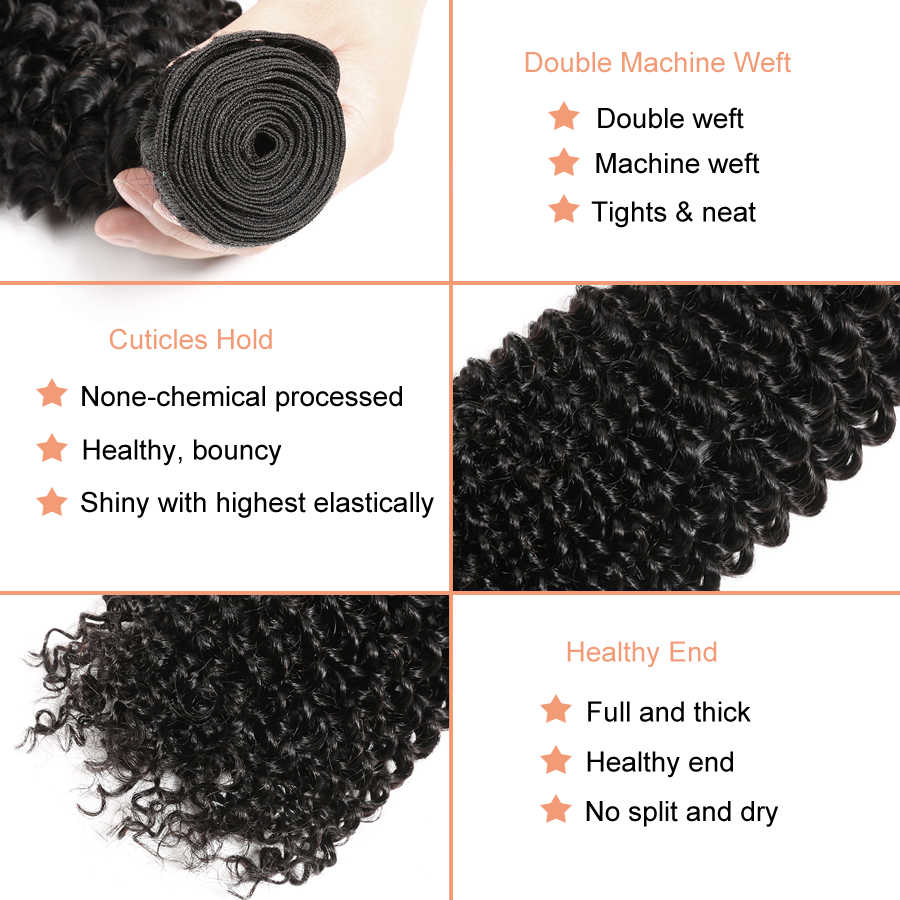Afro Kinky Curly Hair Bundles Deal Human Hair Bundles Brazilian Hair Weave Bundles 100% Human Hair Extension Remy Weave