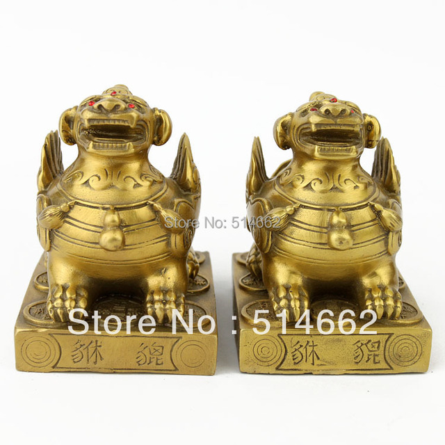4 inch BRASS FENGSHUI PAIR  PI YAO STATUES / BRASS PI XIE STATUES AA311