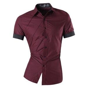 Image 5 - Мужская Летняя Модная приталенная рубашка с геометрическим орнаментом, разные цвета