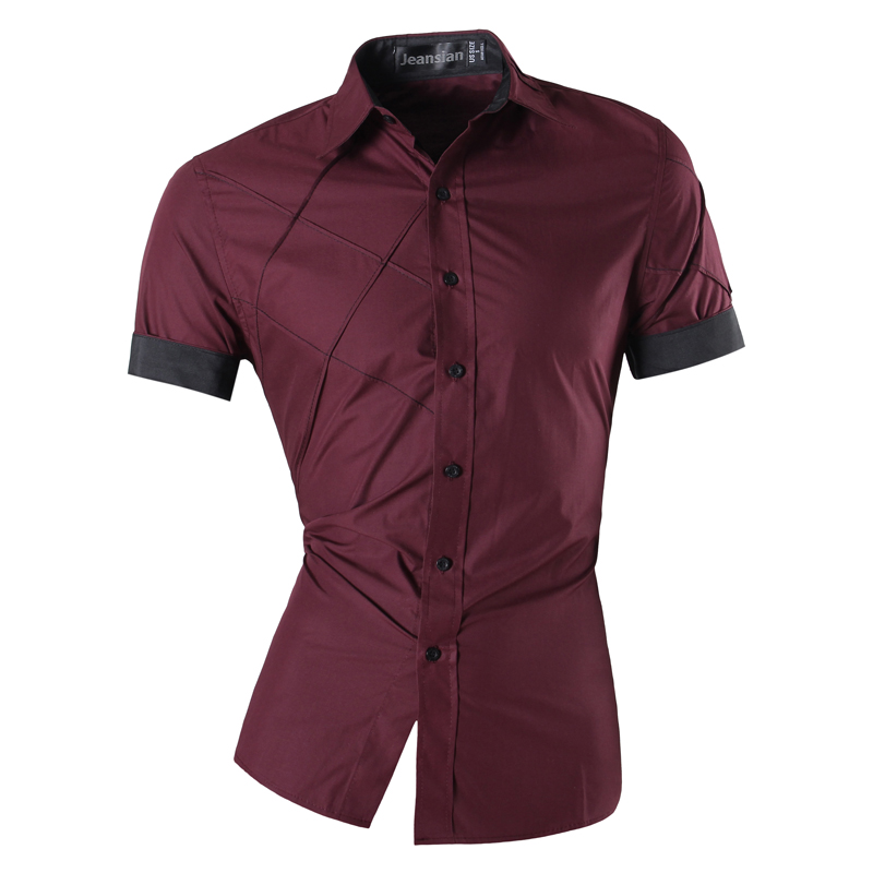 Image 5 - Mens 2019 Summer Fashion Lines of Geometric Ornamentation Casual Slim Fit Short Sleeve Male Mixed colors Shirt Z003-in Casual Shirts from Men's Clothing