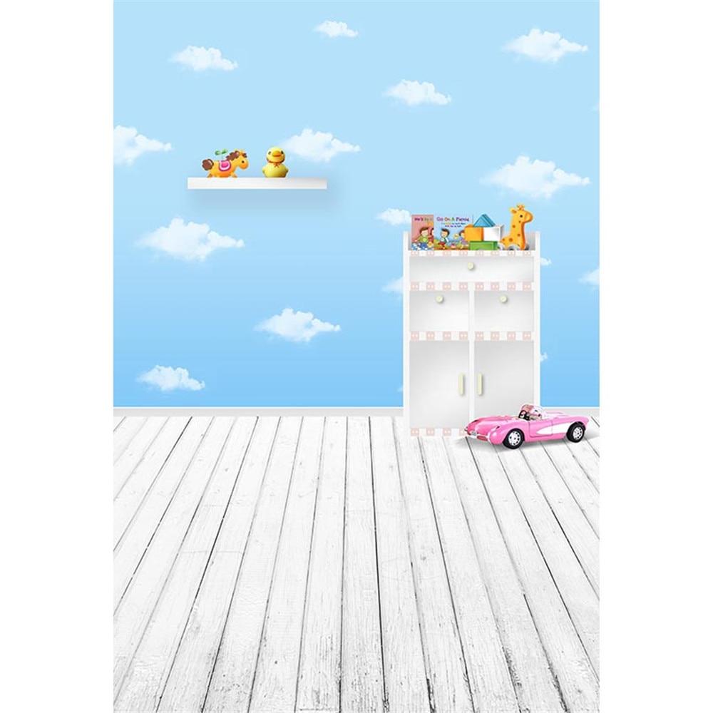 2019 Mode Blue Sky Witte Wolken Achtergrond Fotografie Gedrukt Roze Auto Speelgoed Houten Kast Baby Kids Kinderen Foto Achtergronden Houten Vloer Uitstekende Kwaliteit