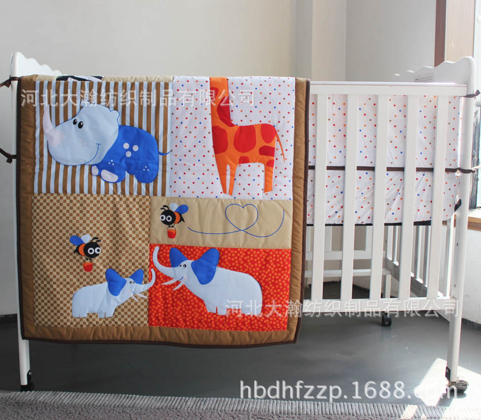 Baby quilts bed covers - 3pcs Embroidery Carton Cot Baby Bedding Sets Kit Set Bedding Cover Crib Quilt