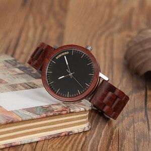 Image 5 - BOBO BIRD WM16 Brand Design Rose Wooden Watch for Men Cool Metal Case Wood Strap Quartz Watches Luxury Unisex Gift