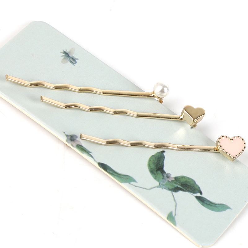Gold Silver Color 3Pcs/Set 4.5cm Hairpins Women Barrettes Alloy Hairpin Wave Design Pearl Hair Clips For Girls Haar Accessories