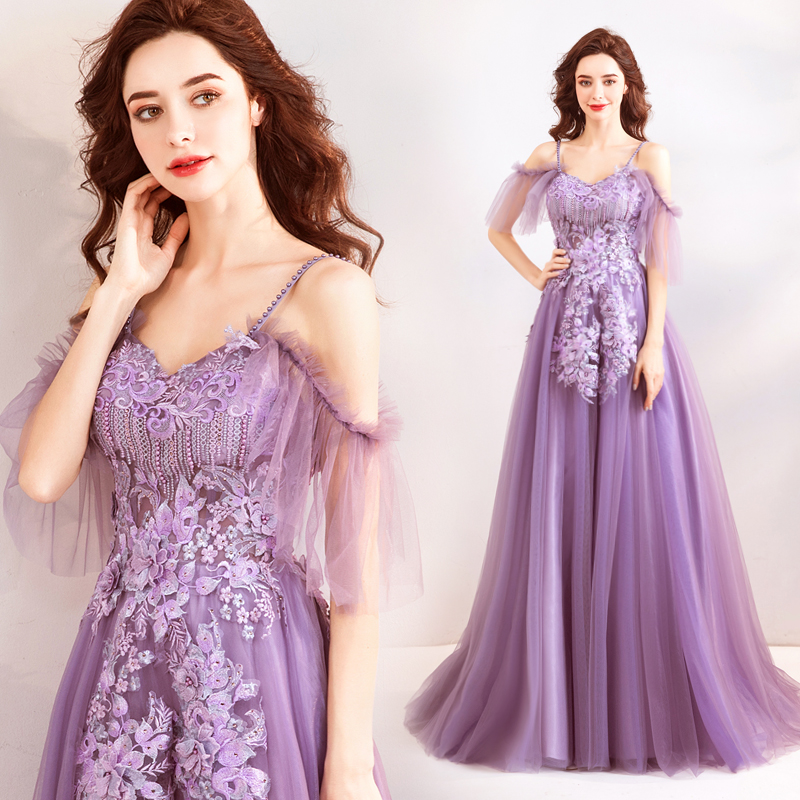 Purple Prom Dress Sweet 16 Graduation Spaghetti Strap Off Crystal A Line Bridesmaids Evening Gown