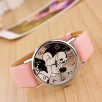 Hot Sale Fashion Mickey children Cartoon Watch 2017 High Quality Leather Strap Quartz Wristwatch Casual Women Men Girls Clock Children Watches