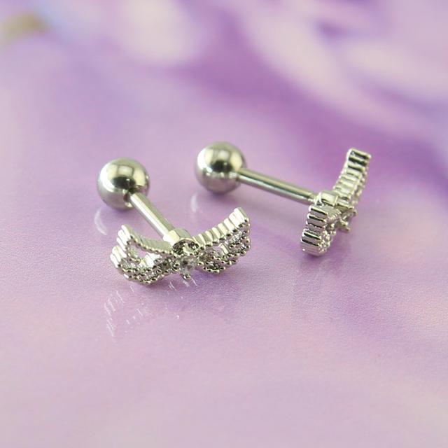 Silver Angel Wing Stud Earrings